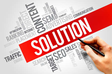 SOLUTION word cloud, business concept Stock Photo
