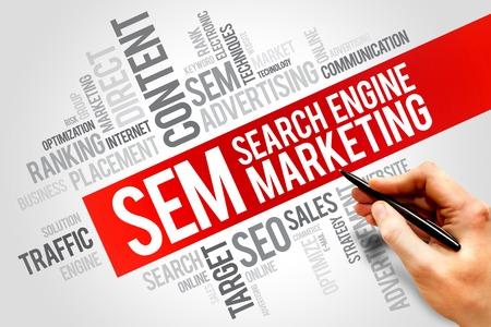 SEM (Search Engine Marketing) woordwolk business concept