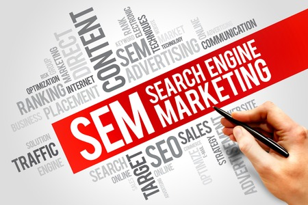 search result: SEM (Search Engine Marketing) word cloud business concept