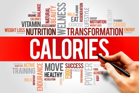 healthy meals: CALORIES word cloud, fitness, sport, health concept