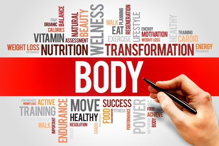 salud y deporte: CUERPO nube de palabras, fitness, deporte, concepto de salud