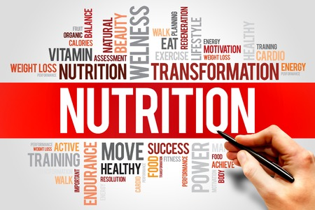 increase fruit: NUTRITION word cloud, fitness, sport, health concept