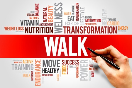 strengthen hand: WALK word cloud, fitness, sport, health concept