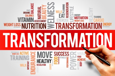 transformation: TRANSFORMATION word cloud, fitness, sport, health concept Stock Photo