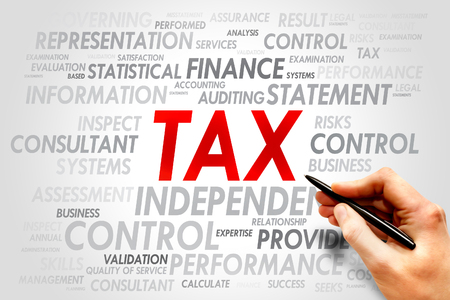 entities: TAX word cloud, business concept Stock Photo