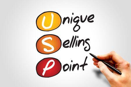usp: Unique Selling Point (USP), business concept acronym Stock Photo