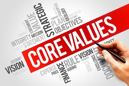 the value: Valores fundamentales palabra nube, concepto de negocio Foto de archivo