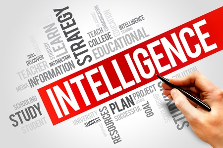 endings: Intelligence word cloud, education concept Stock Photo