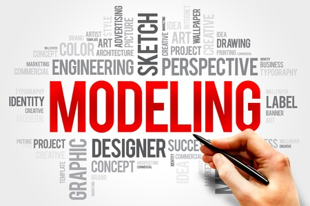 modeling: MODELING word cloud, business concept Stock Photo
