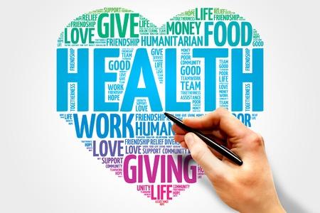 Health word cloud, heart concept Stockfoto