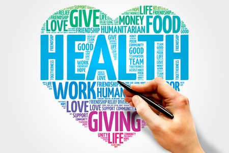 contribution: Health word cloud, heart concept Stock Photo