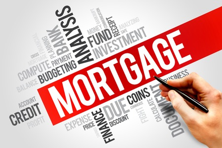 hypothec: MORTGAGE word cloud, business concept Stock Photo