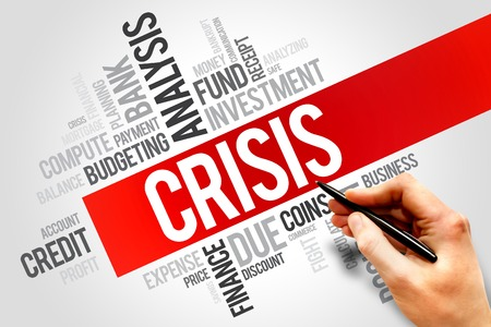 housing crisis: CRISIS word cloud, business concept Stock Photo