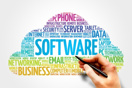 assembler: Software word cloud, business concept Stock Photo