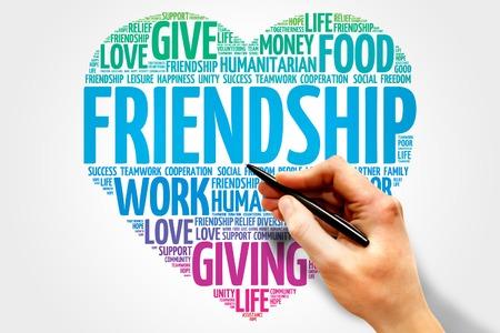 amistad: Amistad nube de palabras, el concepto de corazón