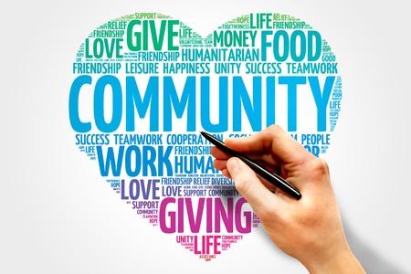 apoyo social: Nube de la palabra de la Comunidad, el concepto corazón Foto de archivo