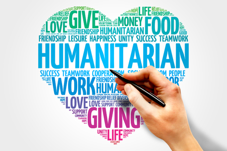 show business: Humanitarian word cloud, heart concept Stock Photo