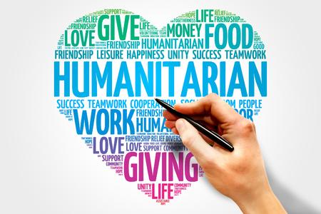 Humanitarian word cloud, heart concept Stock Photo