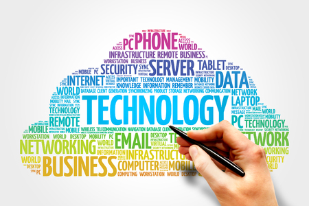 synchronizing: TECHNOLOGY word cloud, business concept Stock Photo