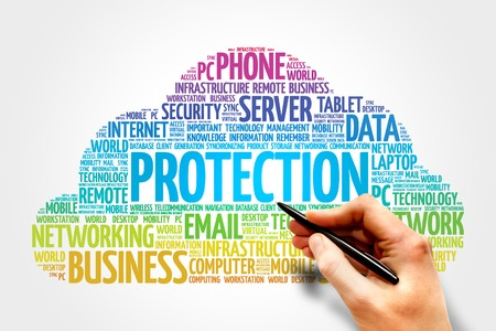 data protection act: PROTECTION word cloud, business concept Stock Photo