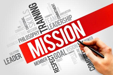 team vision: MISSION word cloud, business concept