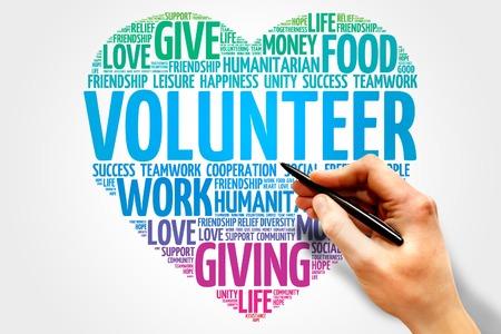 자원 봉사 단어 구름, 마음 개념