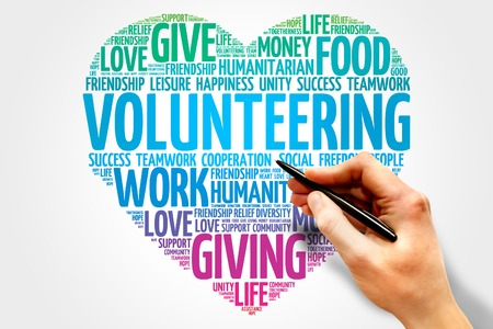 volunteering: Volunteering word cloud, heart concept