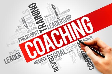 liderazgo: COACHING nube de la palabra, concepto de negocio
