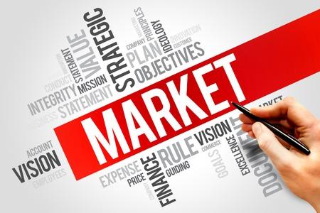 decoding: Market word cloud, business concept Stock Photo