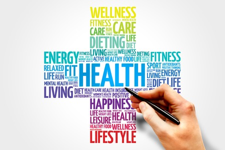 Salud nube de palabras, el concepto de salud cruz Foto de archivo - 40766239