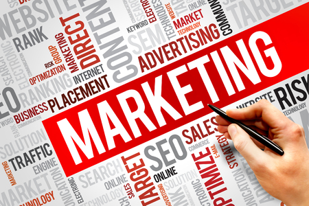 MARKETING word cloud, business concept Banque d'images