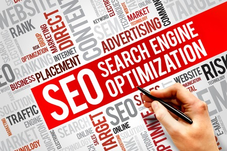 optimizing: SEO (search engine optimization) word cloud business concept