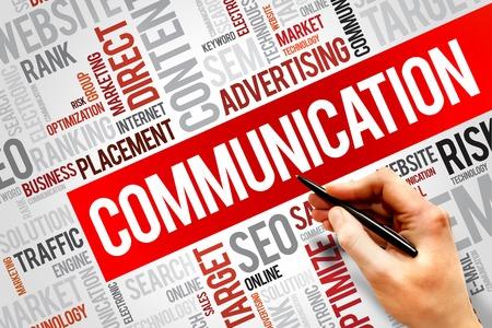 communicate: COMUNICACI�N nube de la palabra, concepto de negocio