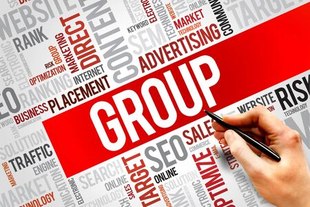 followers: GROUP word cloud, business concept Stock Photo