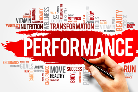 concep: PERFORMANCE word cloud, fitness, sport, health concep Stock Photo