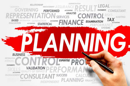 allocation: PLANNING word cloud, business concept Stock Photo