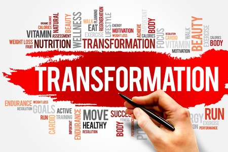 transform: TRANSFORMATION word cloud, fitness, sport, health concept Stock Photo