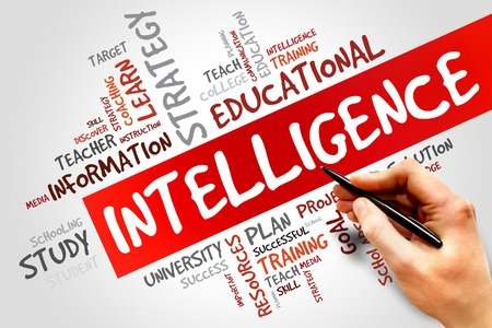 Intelligence word cloud, education concept photo