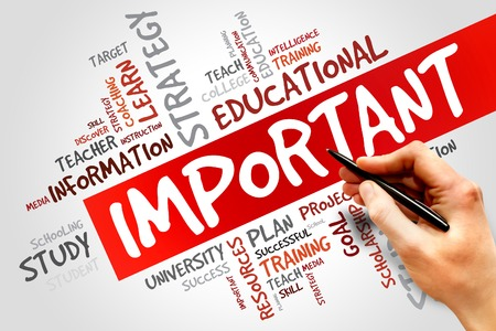 reach customers: IMPORTANT word cloud, education concept Stock Photo