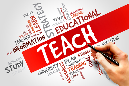 indoctrination: TEACH word cloud, education concept Stock Photo