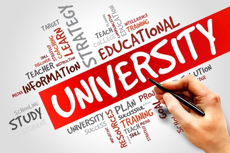 master degree: UNIVERSITY word cloud, education concept