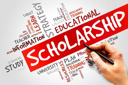 Scholarship word cloud, education concept