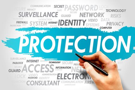 PROTECTION word cloud, business concept photo