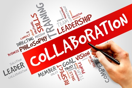 collaborating: COLLABORATION word cloud, business concept Stock Photo