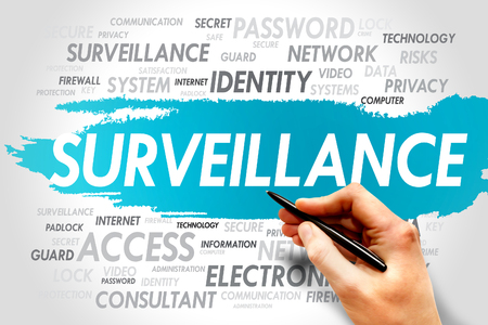 cloud security: Surveillance word cloud, security concept Stock Photo