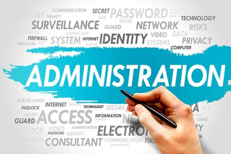 vulnerabilities: ADMINISTRATION word cloud, security concept Stock Photo