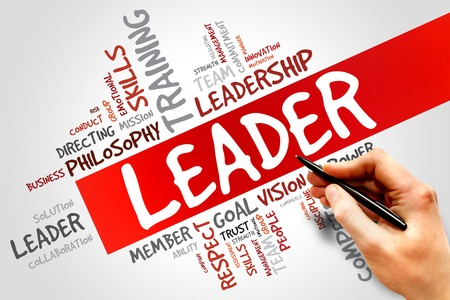 team leader: LEADER word cloud, business concept Stock Photo