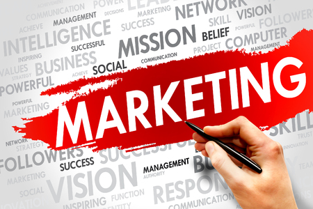 decoding: MARKETING word cloud, business concept Stock Photo