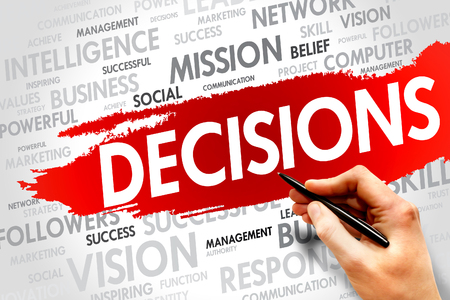 DECISIONS word cloud, business concept Stock Photo