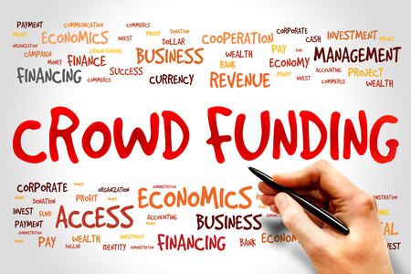initiator: CROWD FUNDING word cloud, business concept